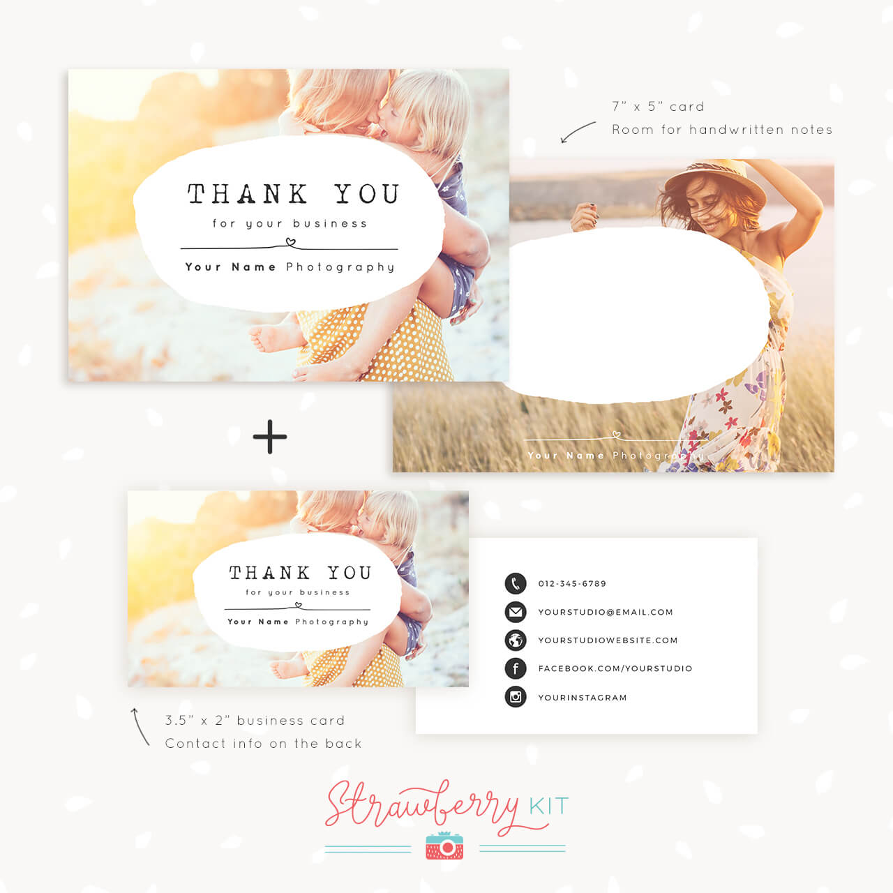 Thank You Note Card For Business   Set Of Two - Strawberry Kit In Thank You Note Card Template