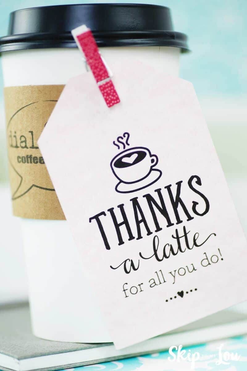 Thanks A Latte! Free Printable Gift Tags   Skip To My Lou Regarding Thanks A Latte Card Template