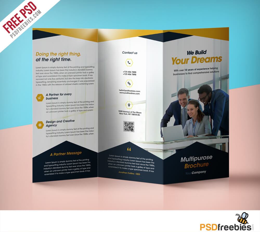 Three Folded Brochure Template – Dalep.midnightpig.co Pertaining To Free Tri Fold Business Brochure Templates