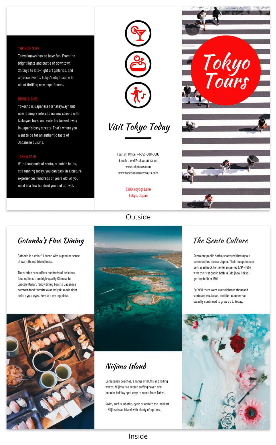 Tokyo Professional Travel Tri Fold Brochure Template Regarding Island Brochure Template