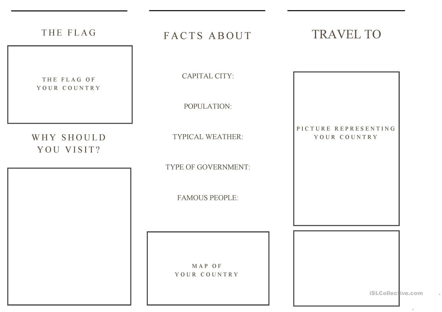 Travel Brochure Template And Example Brochure - English Esl For Country Brochure Template