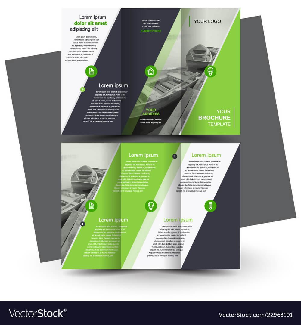 Tri Fold Brochure Design Template Green Pertaining To Tri Fold Brochure Template Illustrator Free