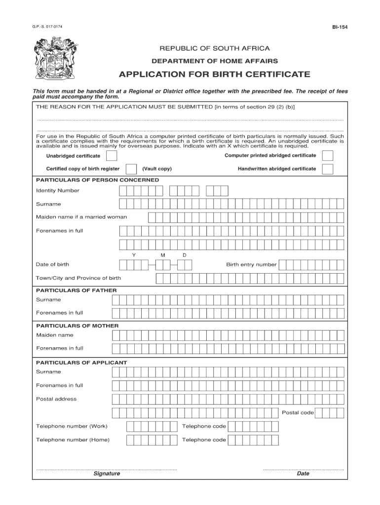 Unabridged Birth Certificate Form - Fill Online, Printable Throughout South African Birth Certificate Template