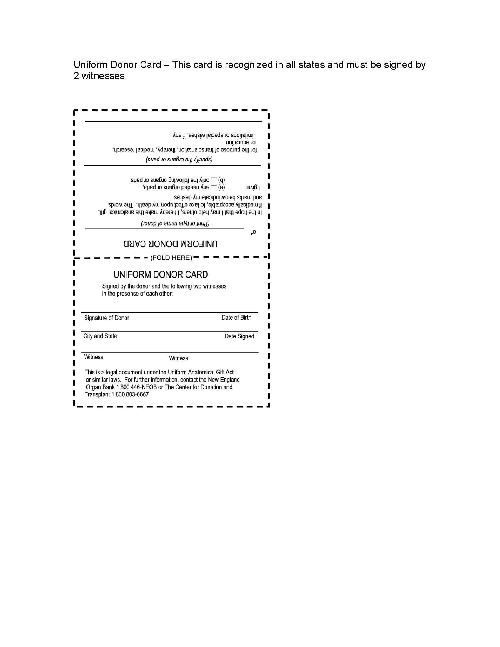 Usa Uniform Organ Donor Card   Legal Forms And Business Regarding Organ Donor Card Template