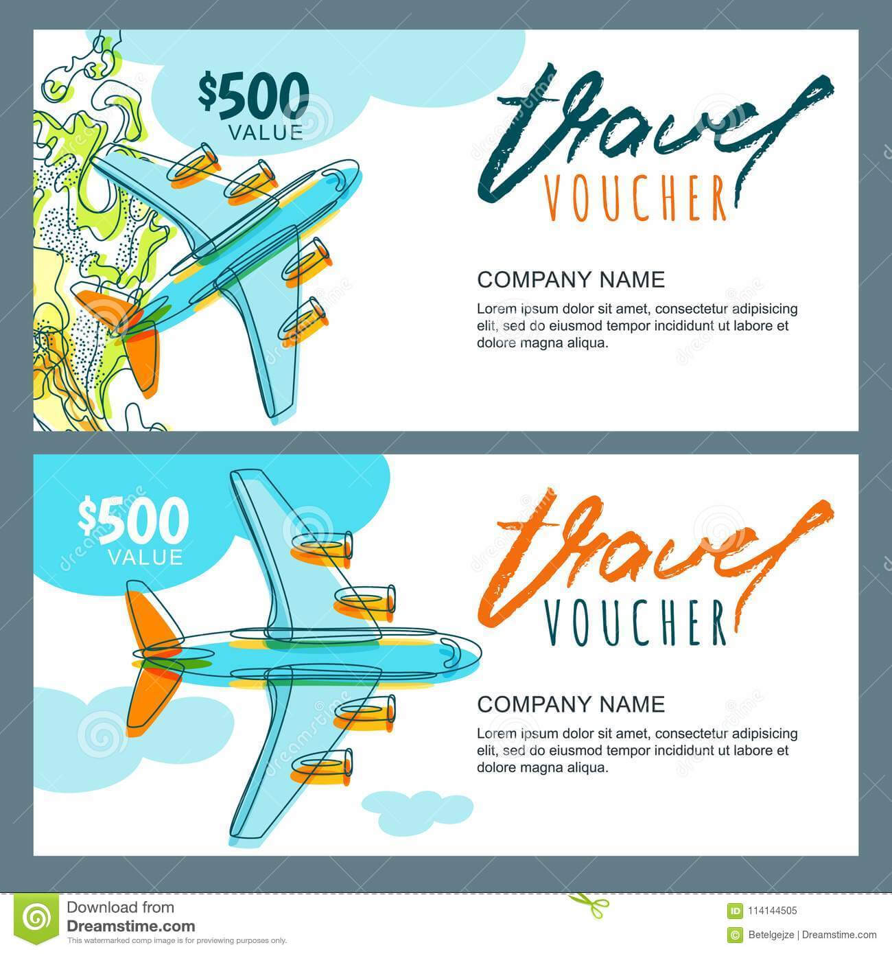 Vector Gift Travel Voucher. Top View Hand Drawn Flying Regarding Free Travel Gift Certificate Template