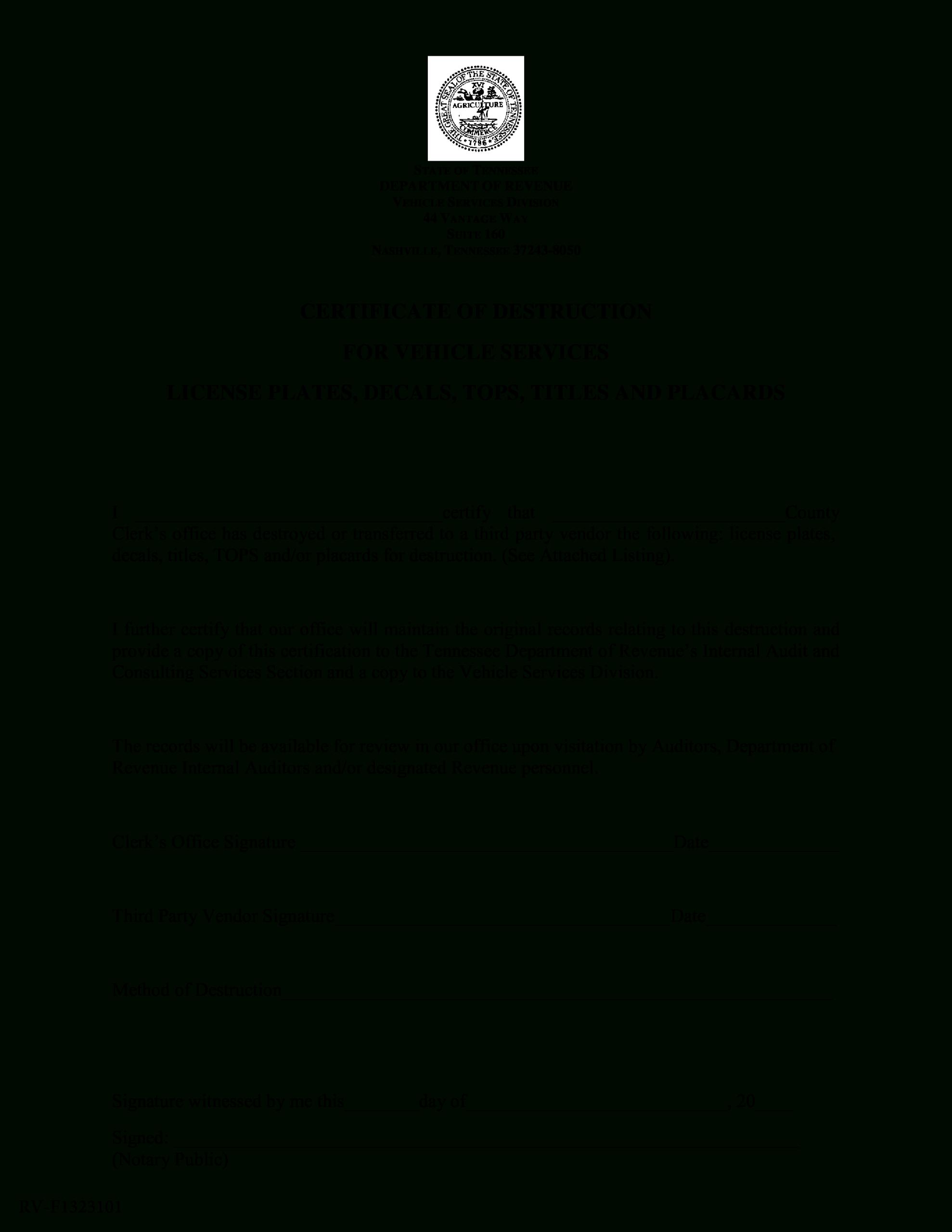 Vehicle Certificate Of Destruction   Templates At With Regard To Free Certificate Of Destruction Template