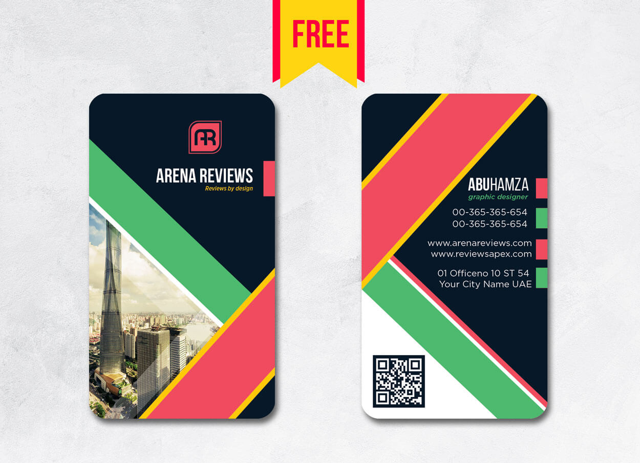 Vertical Business Card Design Psd – Free Download   Arenareviews Pertaining To Business Card Size Template Psd