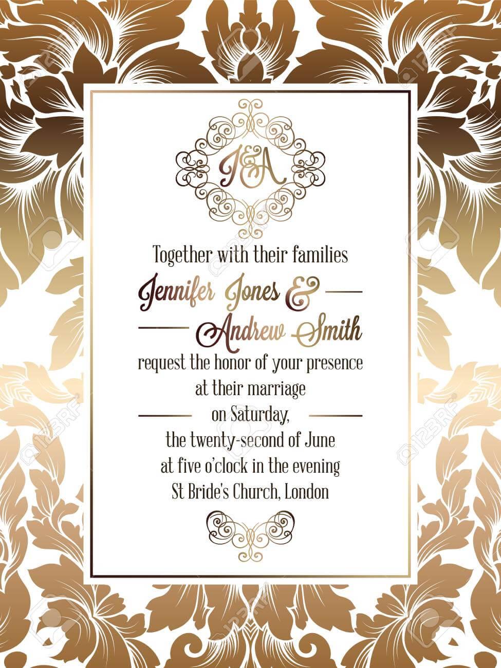 Vintage Baroque Style Wedding Invitation Card Template.. Elegant.. For Church Wedding Invitation Card Template
