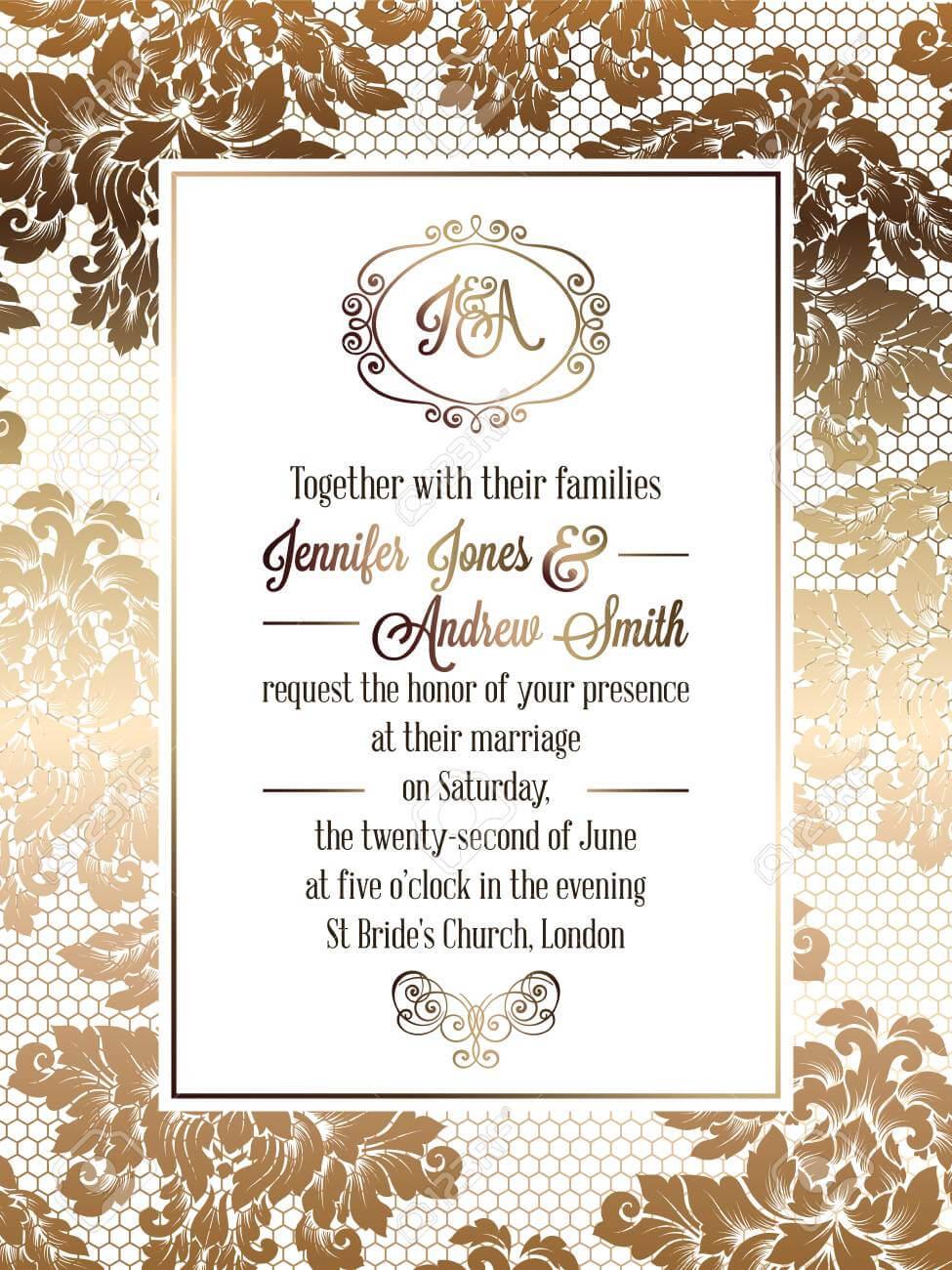 Vintage Baroque Style Wedding Invitation Card Template.. Elegant.. Pertaining To Church Wedding Invitation Card Template