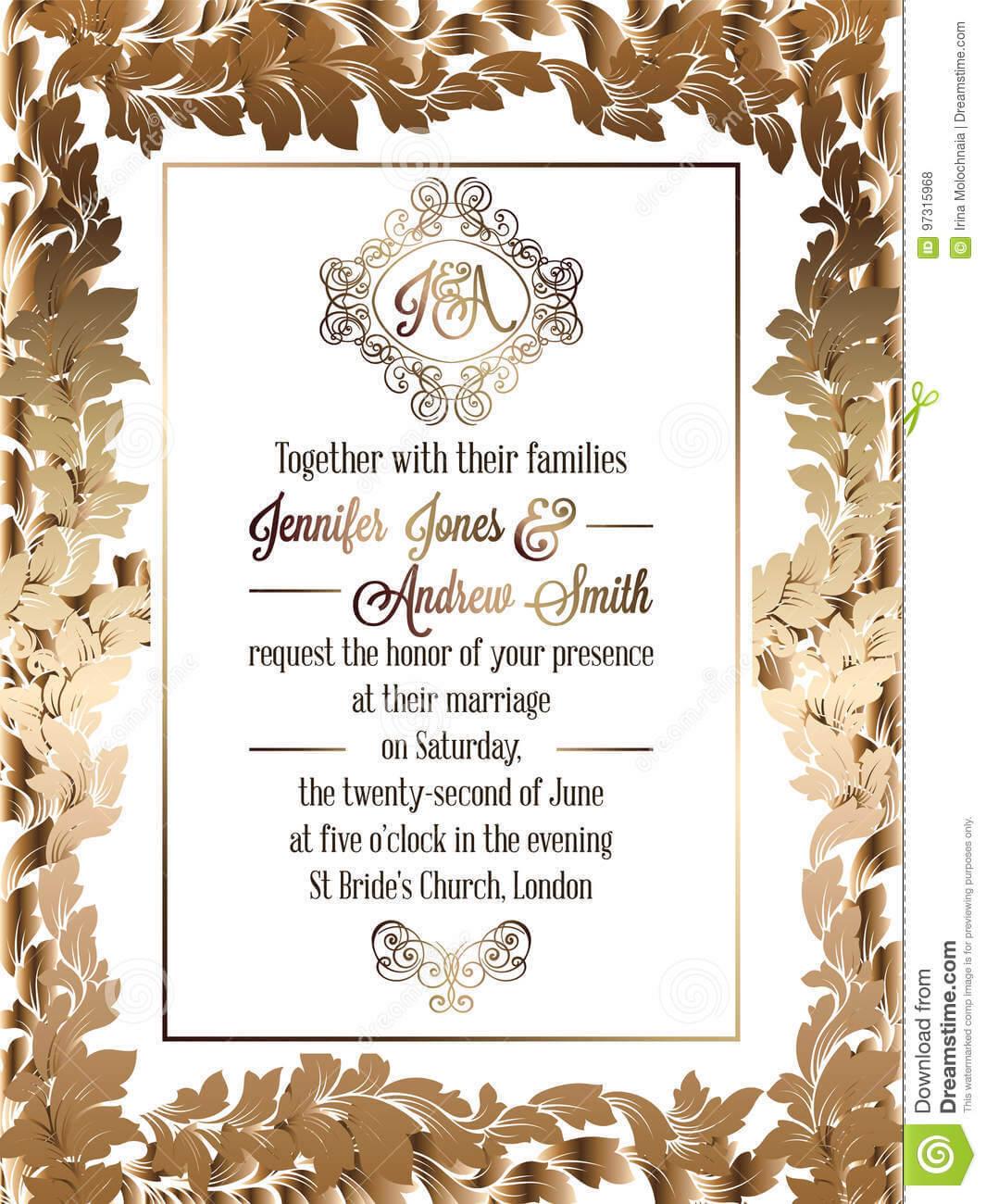 Vintage Baroque Style Wedding Invitation Card Template Inside Church Wedding Invitation Card Template