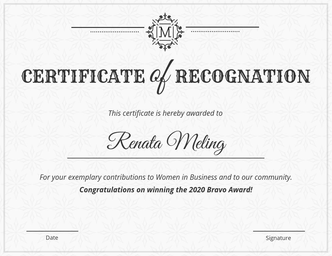 Vintage Certificate Of Recognition Template For Sample Certificate Of Recognition Template