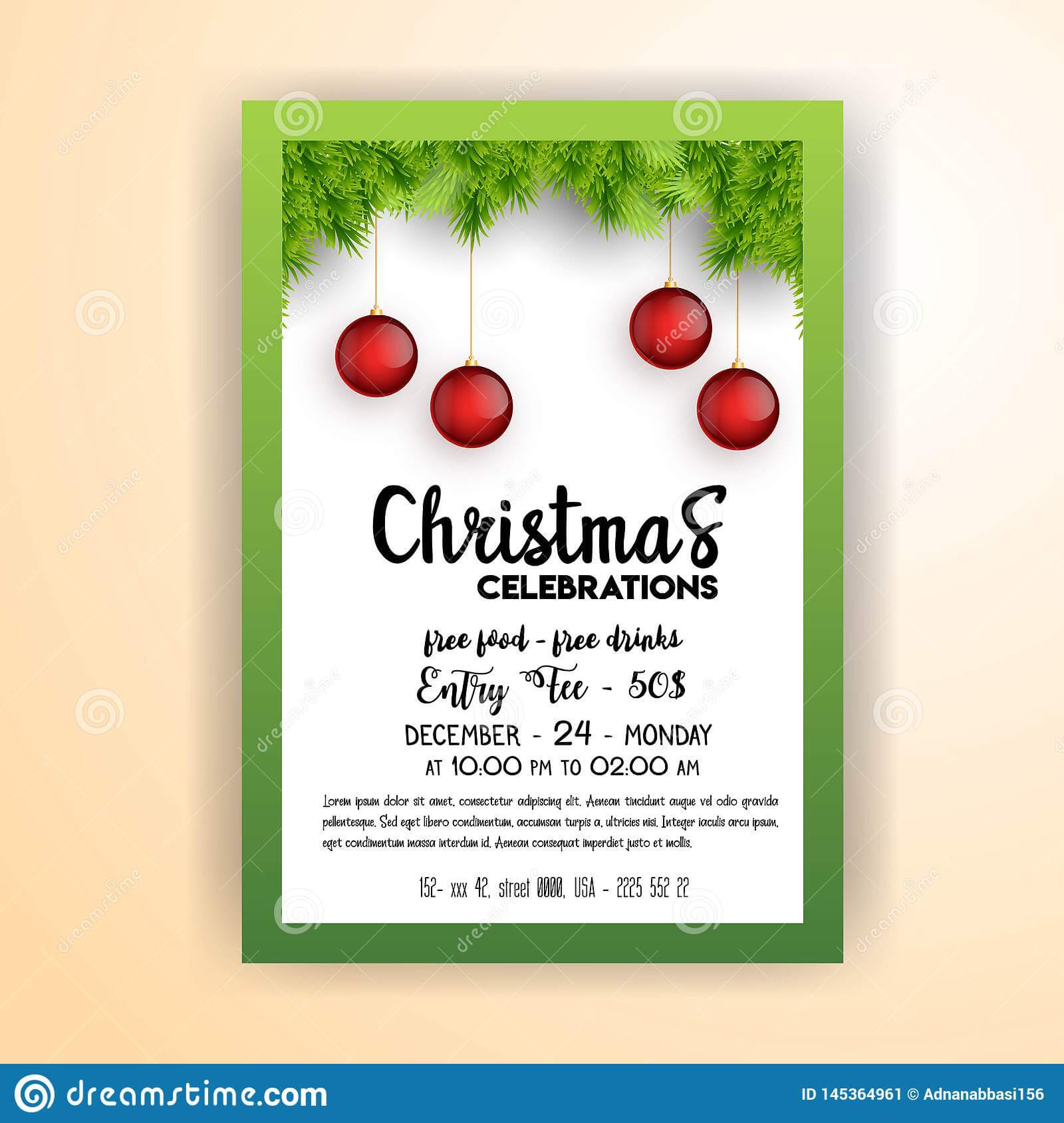 Vintage Christmas Party Flyer Template Stock Vector Inside Christmas Brochure Templates Free