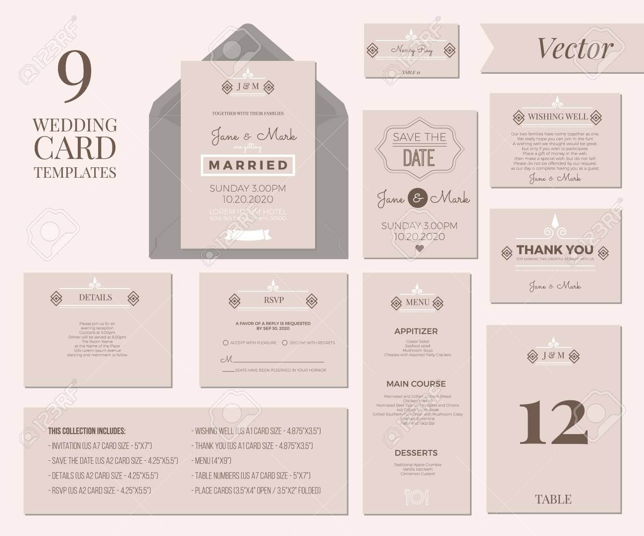 Vintage Minimal Wedding Invitation Card Collection Set Template.. Pertaining To Wedding Card Size Template