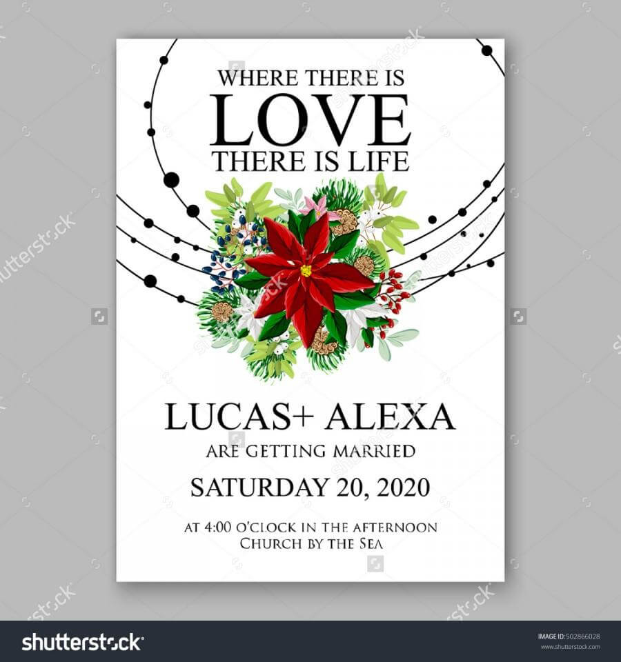 Wedding Invitation Card Template With Winter Bridal Bouquet Pertaining To Church Wedding Invitation Card Template