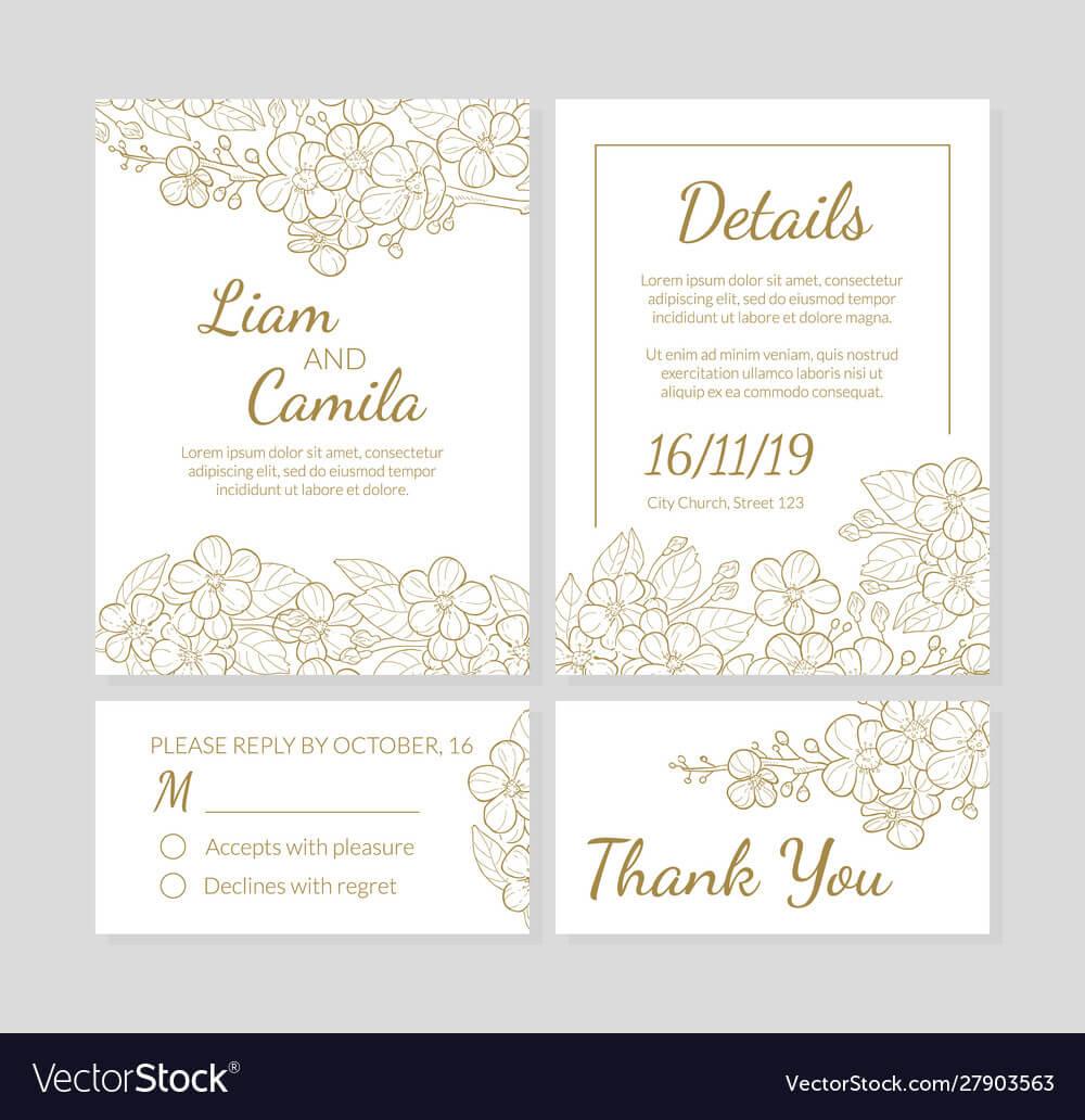 Wedding Invitation Template Set Thank You Card For Template For Wedding Thank You Cards