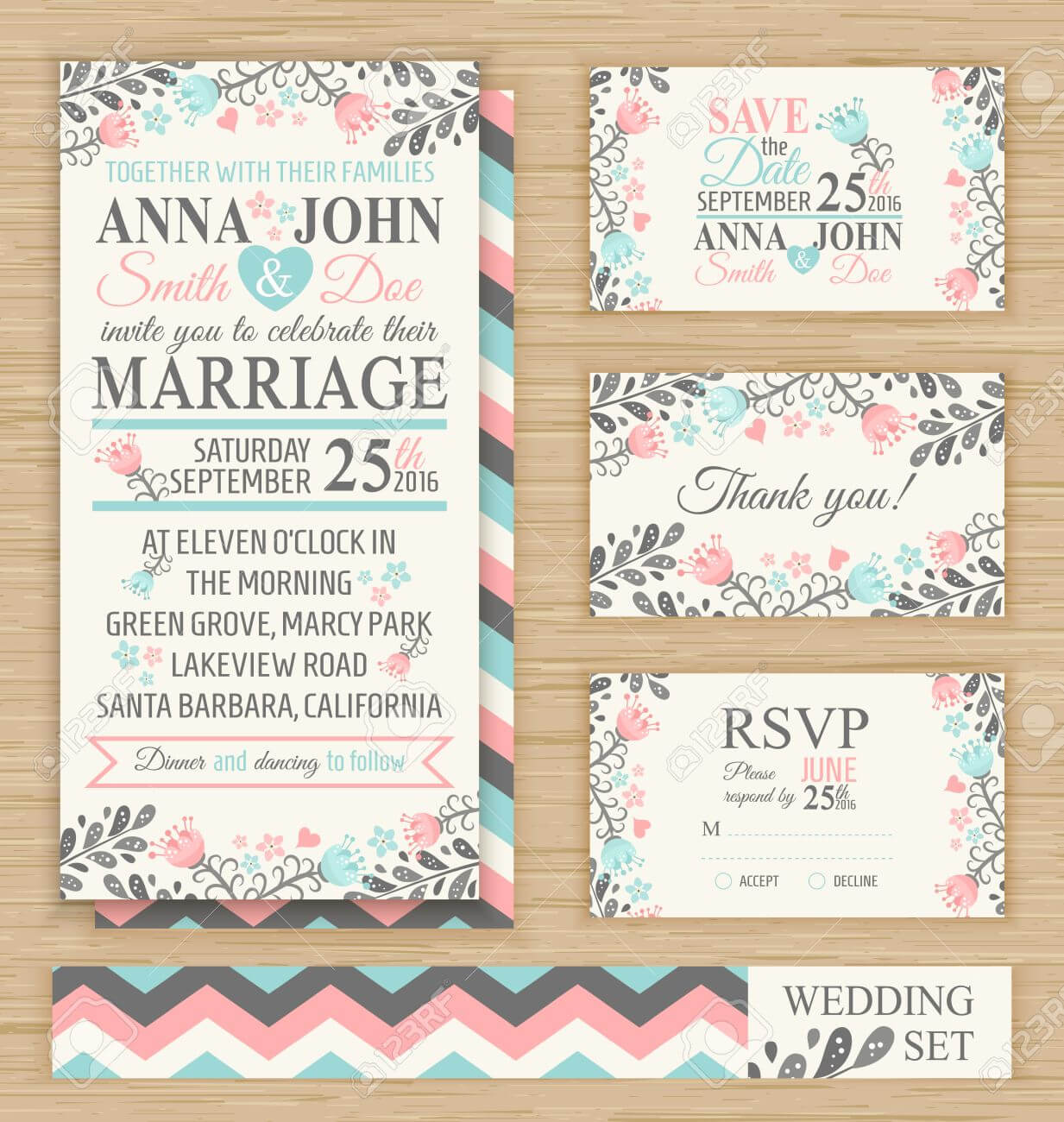 Wedding Invitation Template, Thank You Card, Save The Date, Rsvp.. Inside Template For Rsvp Cards For Wedding