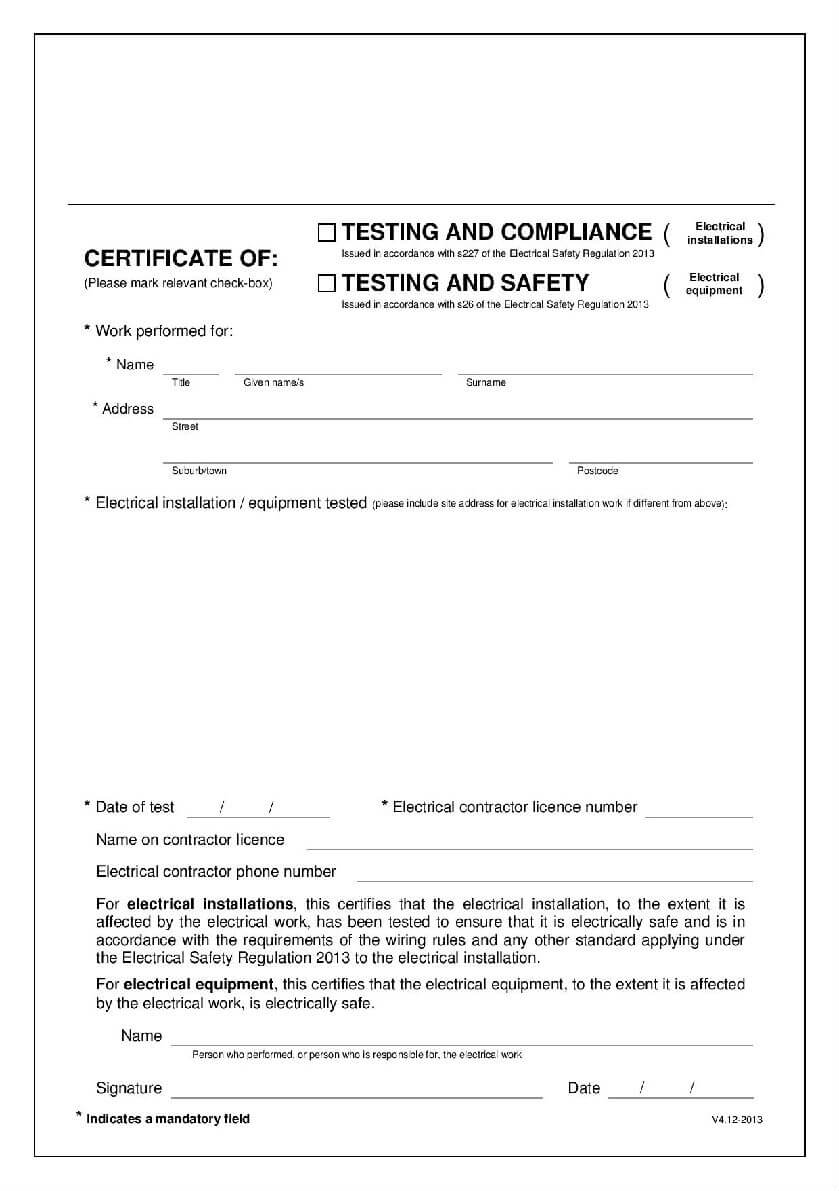 Why You Need An Electrical Compliance Certificate – Blog Inside Certificate Of Compliance Template