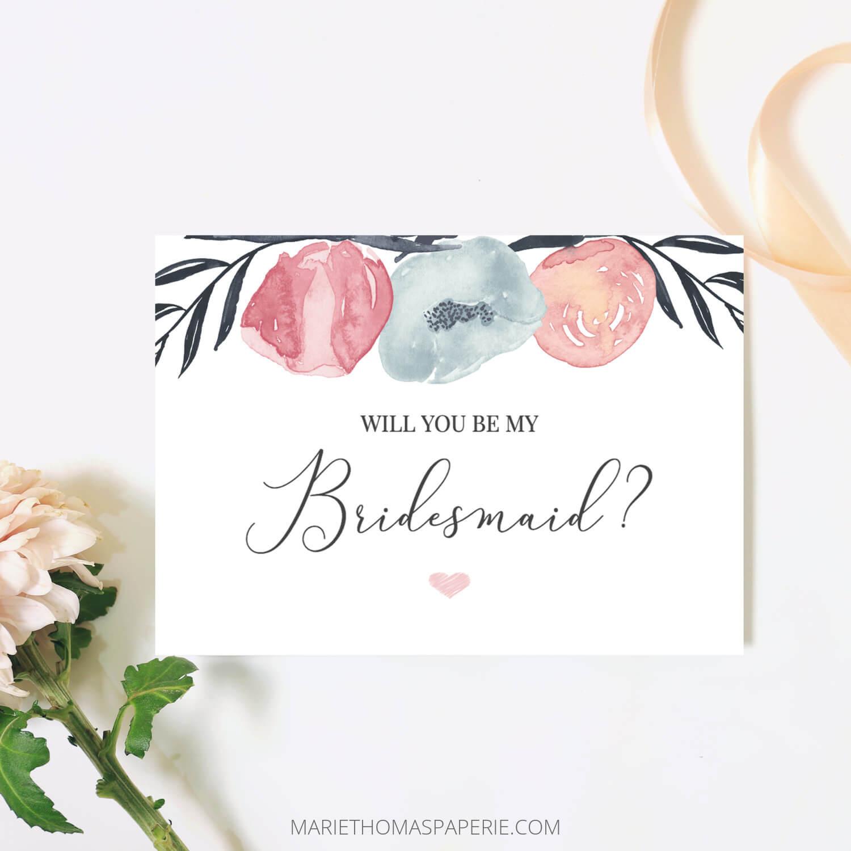 Will You Be My Bridesmaid Card Bridesmaid Proposal Card Pink Navy Floral  Bridesmaid Card Maid Of Honor Proposal Printable 106 05Bp Regarding Will You Be My Bridesmaid Card Template