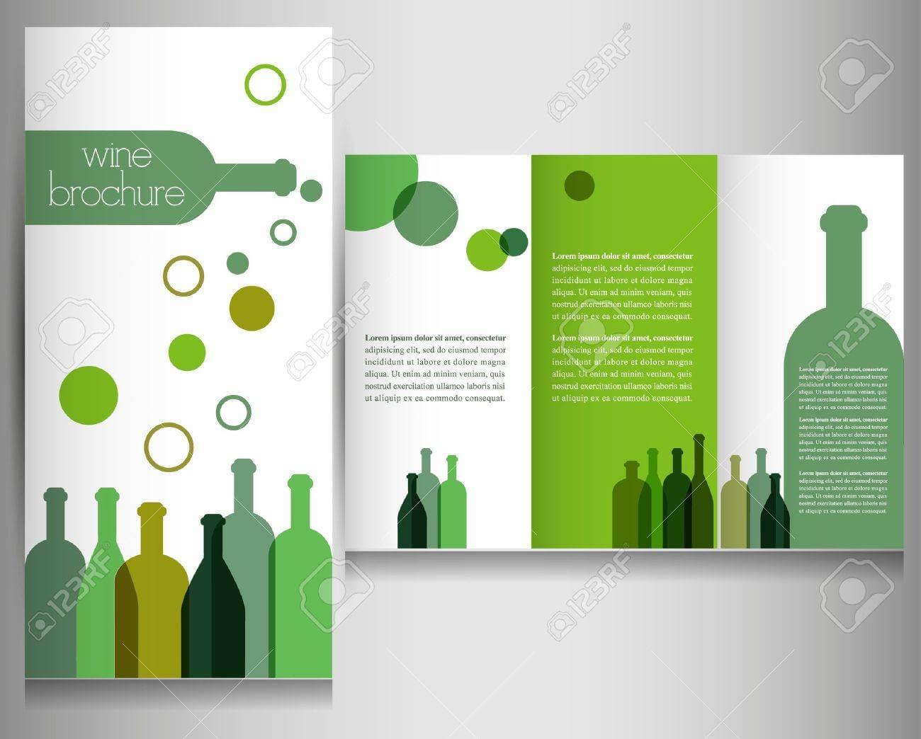 Wine Brochure Design Template Vector Pertaining To Wine Brochure Template